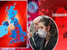برطانیہ میں کورونا وائرس کے کیسز کا میپ
